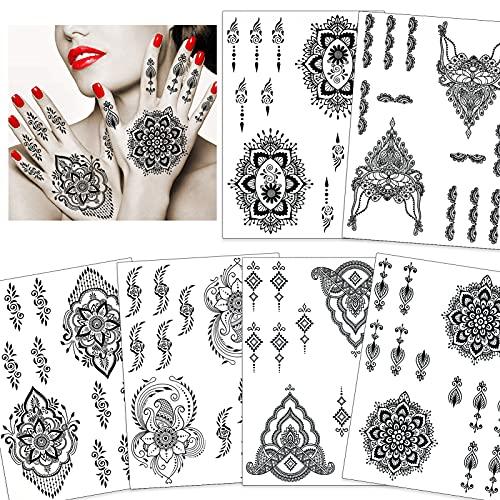 HOWAF 6 fogli adesivi tatuaggio temporaneo nero adesivi artistici trasferimento del corpo del fiore tatuaggio per adulti donne ragazze piuma fiore body art grande grande braccio tatuaggi adesivi