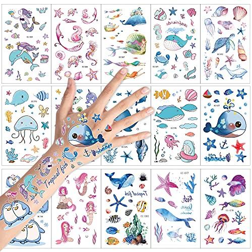 KonSait Tatuaggi temporanei per Bambini, Mondo Marino Tema Falso Tatuaggio Tattoos Adesivi per Bambini Festa di Compleanno Sacchetti Regalo Giocattolo