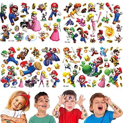 Super Mario Adesivi per Tatuaggi temporanei Super Mario Bomboniere per Feste Principessa Peach Yoshi Adesivi per Cartoni Animati per Feste Supplie (Oltre 100 Disegni)