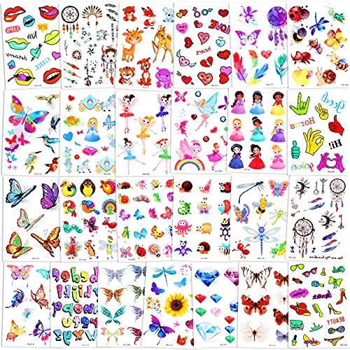 Qpout 300 pezzi Tatuaggi temporanei glitterati per bambini, Flash dei cartoni animati Animale Totem tribale della fata dei fiori della principessa Adesivi per tatuaggi per le ragazze dei ragazzi