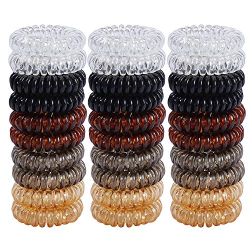 30 pezzi - Elastici per capelli adatti per ragazze, elastici colorati ad anello pompon, a spirale, per tenere la coda, accessori per capelli donna, in gomma