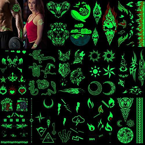 HOWAF Tatuaggi temporanei per adulti uomn donna bambini (14 fogli), bagliore nel buio tatuaggio temporaneo impermeabile tatuaggi finti tattoo temporanei luna sole lupo leone