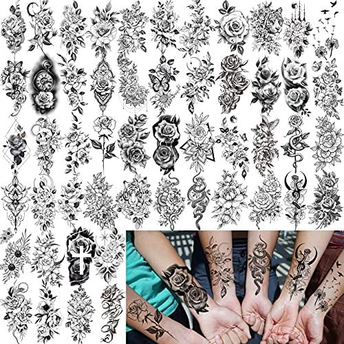 Bilizar 52 Fogli Fiori Tatuaggi Temporanei Adulti Donna Schizzo Realistico Fiore Peonia Rosa Kit Tatuaggi Finti Bambina Bambini Girasole Dente Di Leone Adesivi Per Tatuaggi Temporanei Braccio Collo 3D