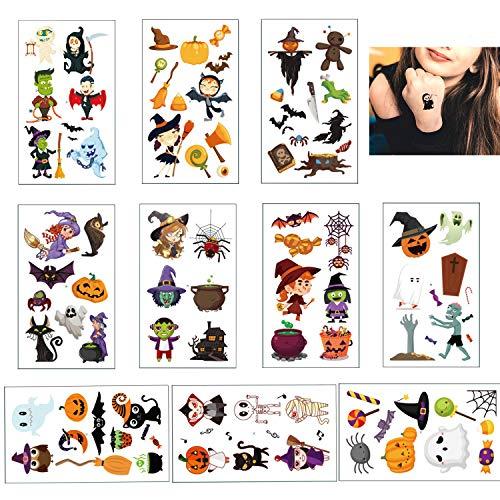 10 Fogli Halloween Tatuaggi Temporanei per Bambini, Simpatici Vampiro Zucca Pipistrelli Mostro Strega Skull Disegni Finti Adesivi per Ragazze Festa di Halloween Compleanno Sacchetti Regalo