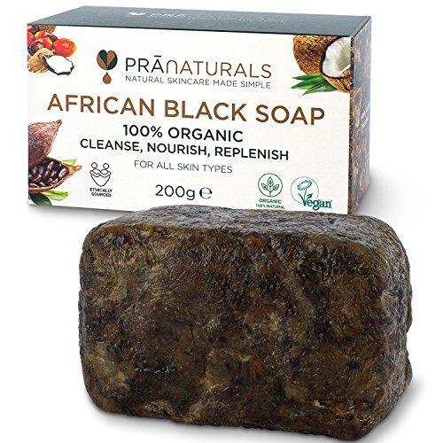 PraNaturals Sapone Nero Africano 200g, Prodotto artigianalmente in Ghana,Cosmetico Biologico e Vegano, Per tutti i tipi di pelle, Trattamento naturale disintossicante e anti-età, Non processato