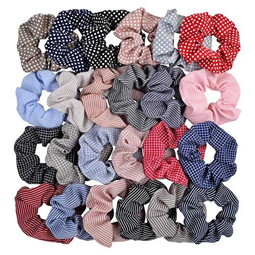 24 elastici per capelli in chiffon, elastici per capelli, per donne o ragazze, accessori per capelli per coda di cavallo