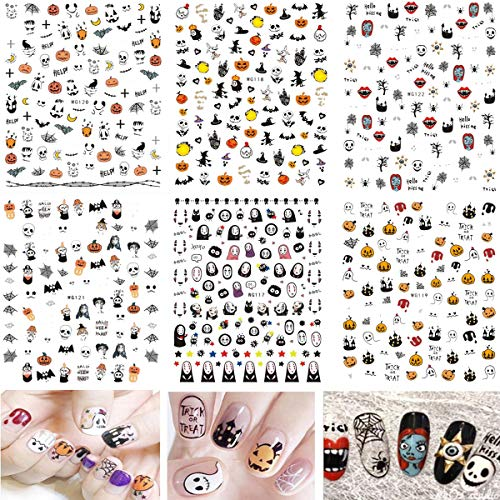 Mwoot (6 Fogli) Halloween Nail Art Stickers Adesivi Unghie, 3D Design Nail Art Decalcomanie Autoadesivi Tip per Nail Decorazione (Più di 600 pezzi)