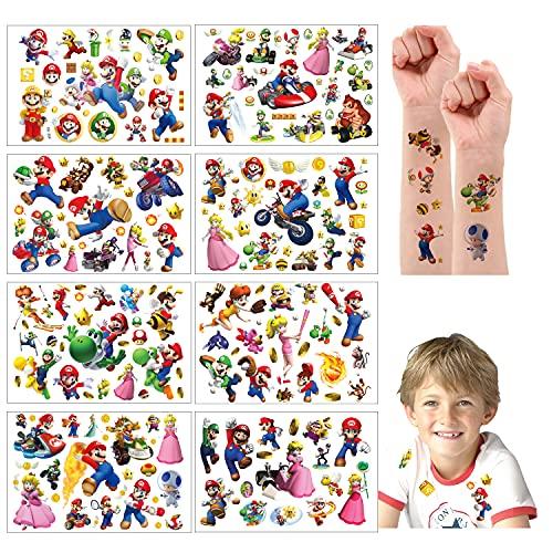 Super Mario Tatuaggi temporanei adesivi per la pelle (oltre 200 disegni), compleanno per ragazzi ragazze materiale scolastico per bambini, oggetti di scena per feste, adesivi per bambini regali