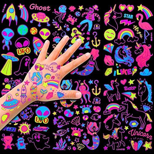 HOWAF 6 Grandi Fogli Neon Tatuaggi temporanei, 100+ Disegni Unicorno / Sirena /Spaziale Tatuaggi per Bambini, Finta Tatuaggi Adesivi Tatuaggio Impermeabile per Ragazze Ragazzi