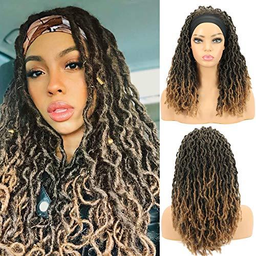 ROSEBONY Parrucca con fascia Nu Faux Locs Parrucche per donne nere Parrucca con trecce morbide Fibra sintetica resistente al calore Colore marrone (T1b / 27)