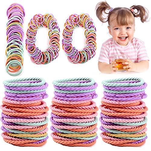 Candygirl - 100 elastici per capelli da ragazza, motivo a spirale, multicolore, elastici per capelli per bambine e bambine
