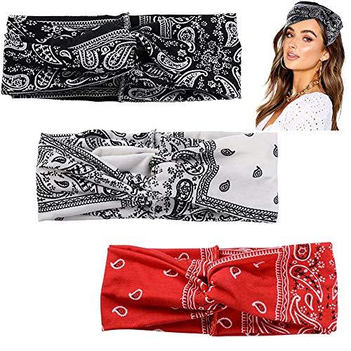 FOGAWA 3 Pezzi Fascia Capelli per Donna Vintage Turbante in Stile Boho con Nodo Stampa Floreale Boemo Per Capelli 3 Colori