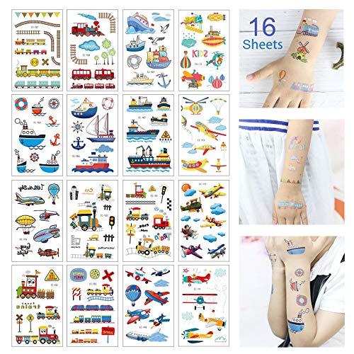 Keleily Tatuaggi Temporanei Bambini Tatoo Bambini 16 Fogli adesivi tatuaggio per Braccia, Gambe, Schiena, Viso, Aeroplano di Cartone Animato, Barca, Sottomarino, Treno