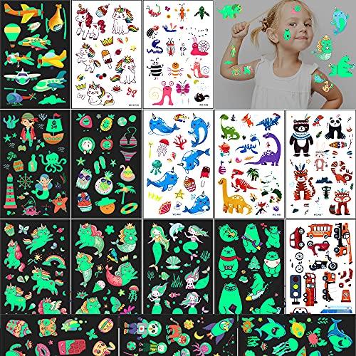 Tatuaggi per Bambini 240 Finti Luminous Tatuaggi Temporanei per Bambini Adesivi,Unicorni Sirene Pirati Gatti Insetti Delfini Auto Aerei Tatuaggi Compleanno Festa Gadget Regalini