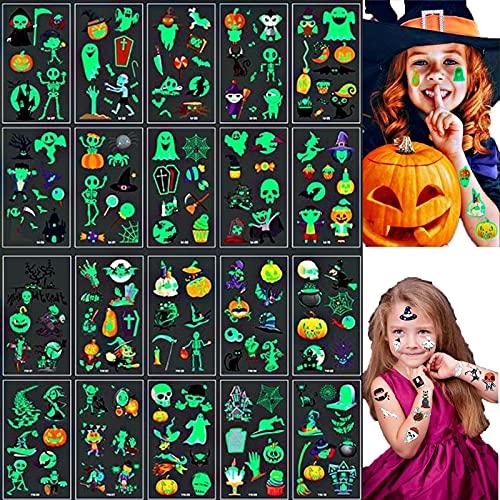 Tuofang Tatuaggi per Bambini, 20 Pezzi Tatuaggi temporanei di Halloween per Bambini, Tatuaggi Flash per Bambini, Tatuaggi Adesivi Impermeabili, Regalo Decorazione Festa Ragazzo e Ragazza