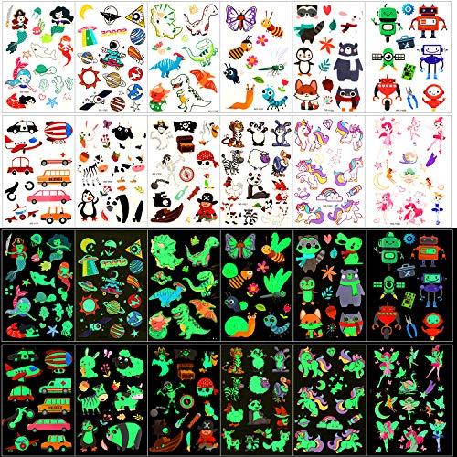 Qpout Tatuaggi temporanei per bambini, 135 tatuaggi luminosi in stile cartone animato misto, unicorno sirena farfalla animale dinosauro pirata tatuaggio, regalo decorazione festa ragazzo e ragazza