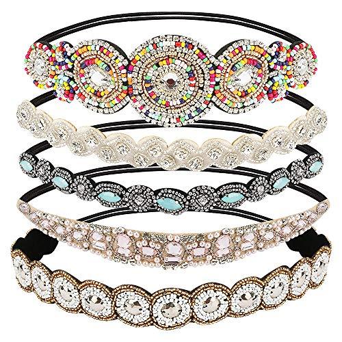 CestMall 5 pezzi cerchietti, gioiello fatto a mano fascia dei capelli fasce elastiche strass in rilievo di cristallo donne fascia dell'involucro della testa di moda