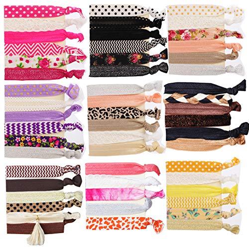 Fasce elastiche per capelli, 51 pezzi Fascette elastiche per capelli multicolori Fascette per code Elastici braccialetti in tessuto colorati per capelli per donne e ragazze