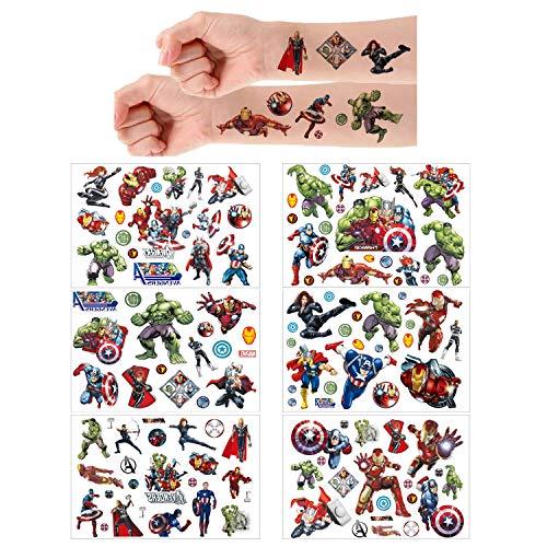 Tatuaggi temporanei per Bambini, 6 Sheet 150+ Pcs Tatuaggi Finti temporanei Adesivi per bambini Ragazzi festa di compleanno sacchetti regalo Giocattolo (Avengers)