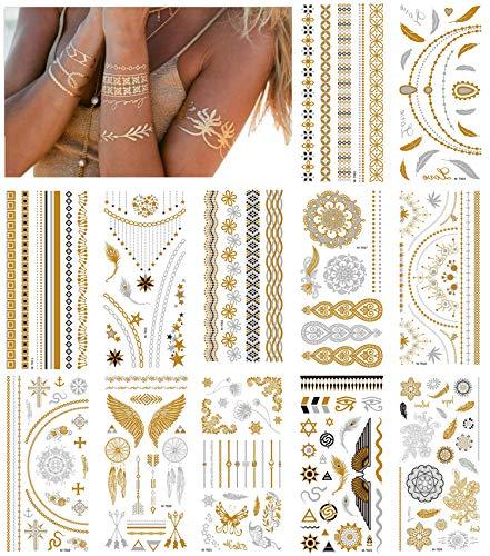 NEPAK 12 Fogli Adesivi Per Tatuaggi In Metallo, Adesivi Per Tatuaggi Temporanei In Metallo, Adesivi Per Tatuaggi Finti Impermeabili Scintillanti, Adatti Per Adulti o Bambini