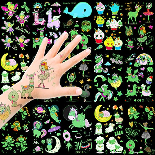 HOWAF Tatuaggi temporanei per Bambini, Impermeabile Tatuaggi Luminosi in Stile Misto Fata Pecora Unicorno Tatuaggi Finti Adesivi Tatoo Bambini Gadget per Ragazza Bambini Regalo Festa Compleanno
