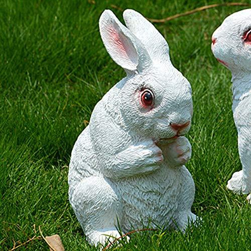ZHX Gnomi da Giardino Ornamenti, all'aperto Giardino Statuetta, Yard Arte - Figura del Coniglio Fontana Statua, Rettile Tatuaggi Paesaggio per Esterni Casa Bianca