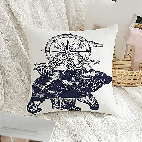 Fodera per Cuscino Durevole Divano Federa Cuscino Libro da Disegno Lago Orso Doppia Esposizione Lavoro Tribale Montagne Simbolo Notte Bussola Incisione Tatuaggio Federe Cuscini 45X45Cm