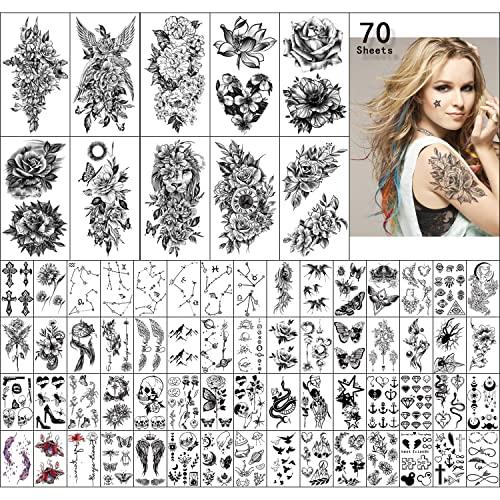 70 Fogli di Tatuaggio Temporaneo Peony Lotus Rose Lion, Mezzo Tatuaggio del Braccio per le Donne, Realistico Tatuaggio Temporaneo Farfalla Uccello Teschio ala Luna Costellazione Croci, Falso Tatuaggio