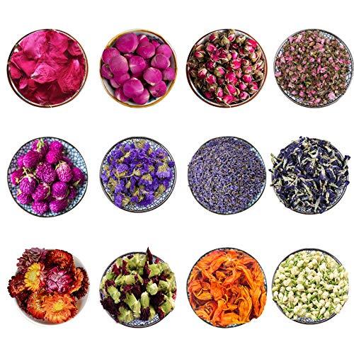 CoolCrafts 12 Borse Fiori Secchi Fiore Secco Naturali Fiori Essiccati per Decorazione Sapone Candele, Boccioli di Rose, Lavanda Essiccata, Peonia