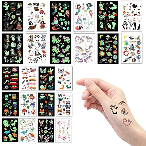 AIEX 12 Fogli Di Tatuaggi Temporanei Per Bambini Tatuaggi Bambini Animali Unicorno Sirena Dinosauro Spazio Robot Animale Auto Pirata Tatuaggio Finto Impermeabile