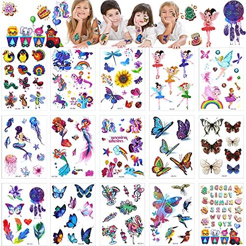 Tatuaggi Bambini 15 Fogli Tatuaggi Temporanei Bambina 165 pcs Farfalle Fiori Sirene Fate Unicorni Animali Lettere Impermeabile Finti Grandi Tatuaggi Adesivi Regalino per Festa Compleanno Bambini