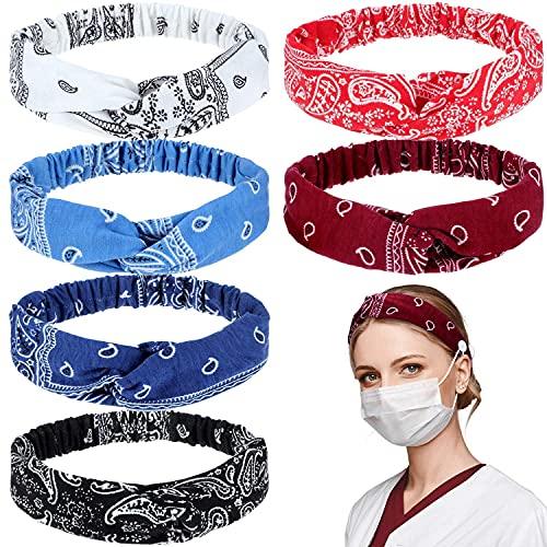 Zeaye - Fascia elastica per capelli, con nodo a testa e bottoni, 6 pezzi, ideale per infermieri, medici, accessori per capelli elastici