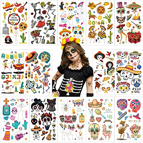 Qpout Day Of The Dead Tatuaggi 200pcs Scheletro Musica Tatuaggi Adesivi Per Bambini Messicano Halloween Carnival Borsa Regalo Di Festa Forniture Per Feste Dia De Los Muertos Accessorio Decorativo