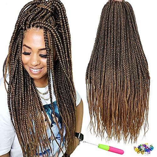 QingJun, confezione da 6 ciocche di extension per capelli sintetici, 61cm, 3 ciocche sintetiche per trecce all'uncinetto, confezione da 22 pezzi (61cm, T27)