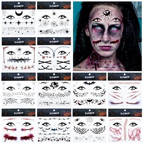 EKKONG Tatuaggi temporanei adulti,12 fogli Halloween tatuaggi temporanei,Tatuaggi temporanei, Halloween Tatuaggi temporanei viso,Realistici Halloween cicatrici di zombie (B)