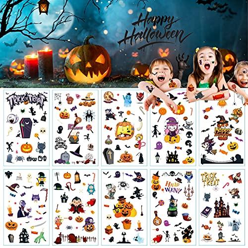 Tatuaggi Temporanei per Bambini,10 Fogli 180 disegni Tatuaggi temporanei di Halloween, Impermeabile Halloween Tatuaggi Set,per Feste di Halloween