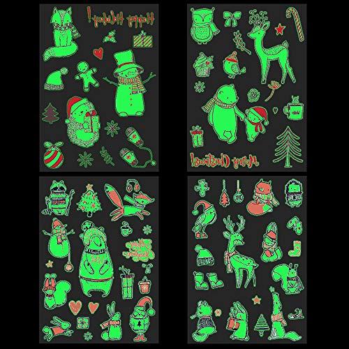Fluorescenti Luminose Natale Tatuaggi temporanei per Bambini 4 fogli Falso Tatuaggio Tattoos Adesivi per Bambini Festa di Compleanno Natale Sacchetti Regalo Giocattolo