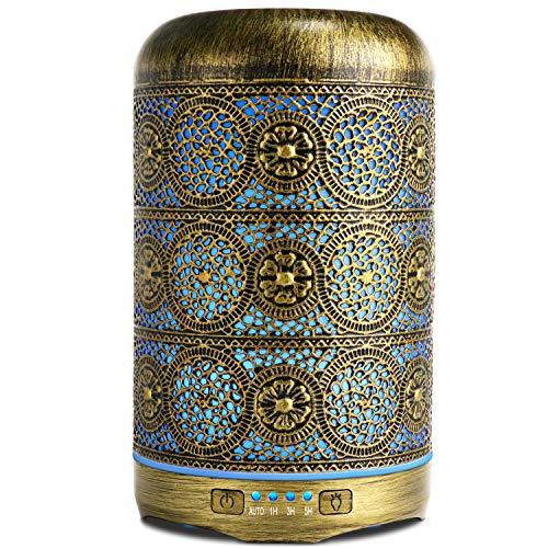 SALKING Diffusore di Oli Essenziali 260ml, Metallo Diffusore di Aromi, Aromaterapia diffusore, Ultrasuoni Umidificatore con 7 Colori LED Luce Notturna, Profumazione Ambiente Senza BPA