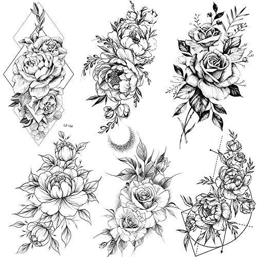 COKTAK 6 Fogli Tatuaggi Temporanei del Grande Fiore Rosa Nero Realistico Corpo Femminile Gambe Braccio Arte Adesivi Tatuaggio Geometrico Peonia Finto Tatuaggio per Donna Schizzo Ragazza Sexy Giglio