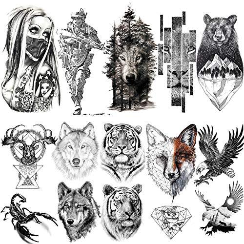 LAROI 10 Fogli Tatuaggi Temporanei Grande Tigre Realistica 3d Uomo Soldato Finti Adulti Donna Scorpione Lupo Cervo Alce Aquila Orso Punto Schizzo Adesivi Tatuaggio Temporaneo Nero Ragazze Bambini