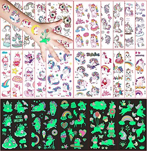 Tatuaggi Temporanei per Bambini, 250 Pezzi Tatuaggio Set de Unicorno, 20 Fogli Tatuaggio Finti e 5 Fogli Luminous Adesivi Tatuaggi, Ragazzo Ragazza Compleanno Festa Giochi Regalini Giocattoli