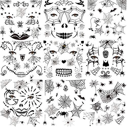 HOWAF Tatuaggi temporanei Halloween ragno Tatuaggi viso Adesivi per Viso Braccio Corpo Donna Adulto Bambini Halloween Costume Puntelli di Trucco Decorazioni feste di Halloween Ragnatela tatuaggi