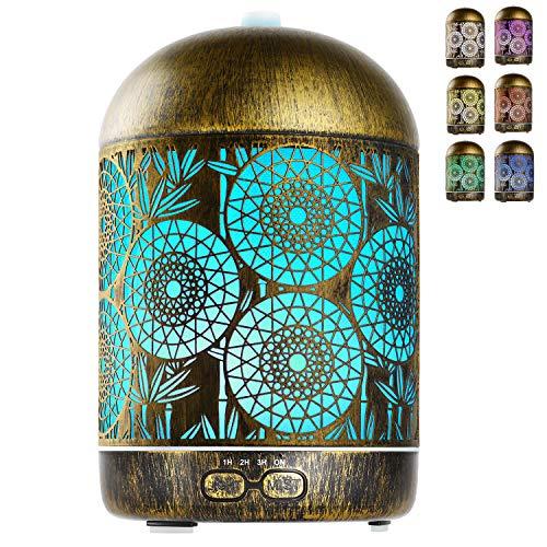 GeeRic Diffusore di Oli Essenziali 300 ML, Ultrasuoni Umidificatore Purificatore d'Aria Diffusore di Aromi Nebulizzatore per Oli Profumati 7 Color LED Silenzioso per Yoga Regalo Salute Ufficio Bronzo