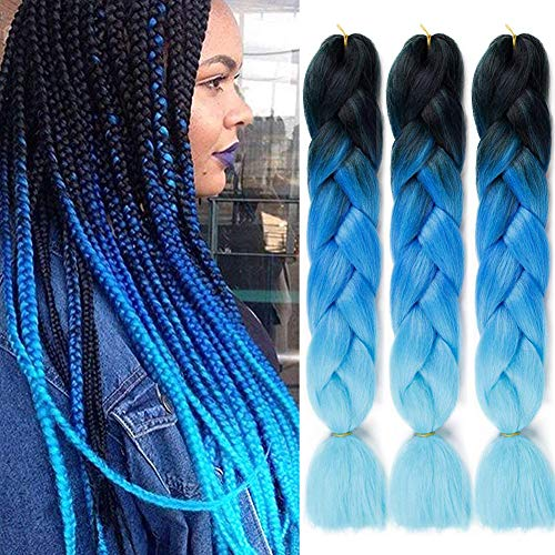 Colorfulpanda xpression extension per treccine Capelli Sintetici per Treccine Africane 3 Ciocche Trecce Jumbo Braiding Hair Kanekalon (Nero&Zaffiro&Cielo blu)
