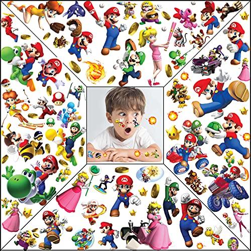 Tatuaggi temporanei, tatuaggi per decorazioni per bambini, kit di tatuaggi temporanei impermeabili Super Mario per forniture per bomboniere per feste di compleanno (8 fogli, 4 stili)