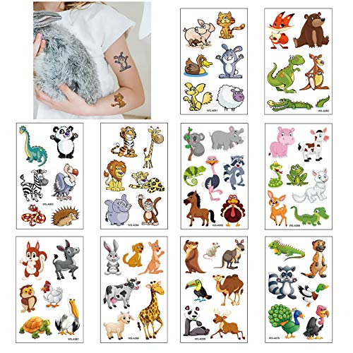 Tatuaggi Temporanei per Bambini, 10 Fogli Tatuaggi Finti Set per Bambini de Animale, Tatuaggio Impermeabile per Ragazze Ragazzi, Tatuaggio per Feste di Compleanno (Animale)