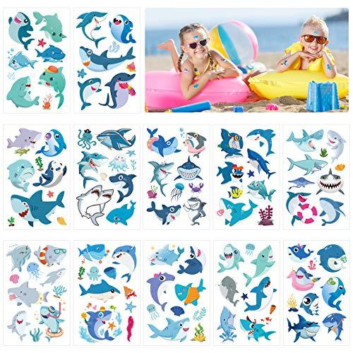 LANMOK 100pcs squalo tatuaggi temporanei mare mondo adesivo tatuaggio a tema animali marini regali bomboniere per ragazze dei ragazzi