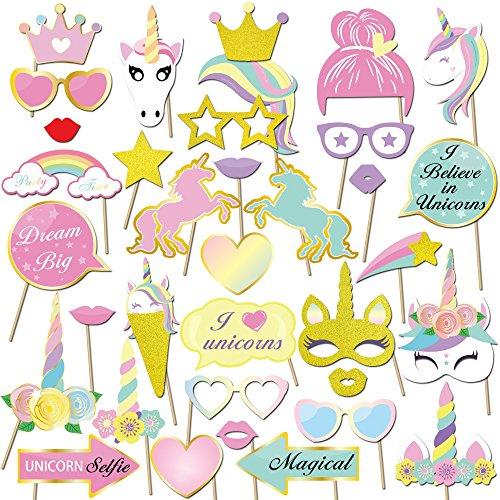 35 Pcs Unicorno photo booth puntelli, Konsait Unicorno party photo booth props Accessori fai da te Kit Foto Props Divertente Maschere Occhiali per bambini bambina Ragazza compleanno decorazione Regalo