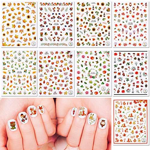 Qpout Adesivi per unghie del Ringraziamento 600 disegni, Adesivi autoadesivi per unghie 3D autunnali per donne Ragazze Bambini Decorazione per salone per unghie Regalo, Foglie d'acero Zucca Scoiattolo