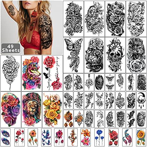 49 fogli tatuaggio temporaneo impermeabile mezza manica nera per uomini e donne adulti, adesivi tatuaggio finto animale fiore 3D per ragazze adolescenti corpo mano spalla mento collo